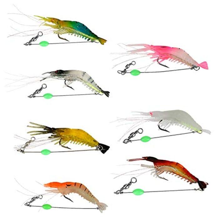 Bestcool 7Pcs Shrimp Bait Set, 7 Colors Silicone Fish - Only £2.80!