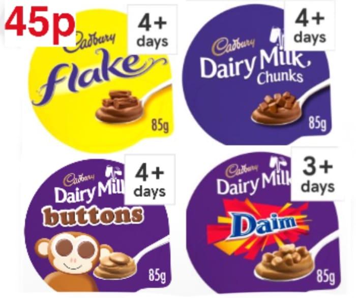 Cadbury Flake,Milk Chocolate Buttons,Dairy Milk Chunks,Daim Dessert 85G,45p Each