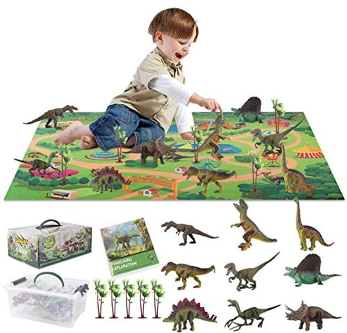 Kids Realistic Dinosaur Playmat with 9 Dinasours & 5 Trees