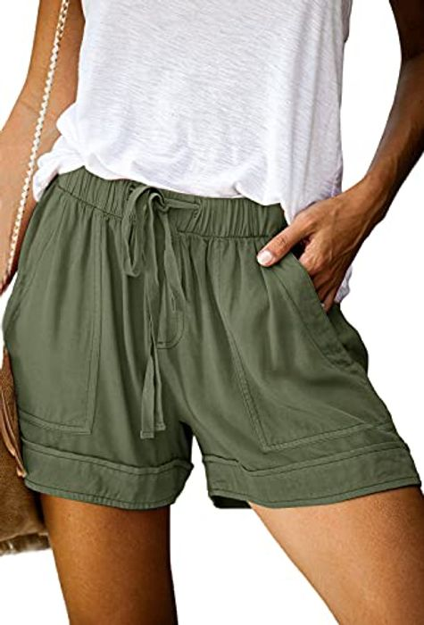 Women's Casual Drawstring Elastic Waist Linen Shorts with Pockets - 7 Colours
