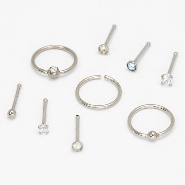 Silver 20G Assorted Nose Studs & Rings - 9 Pack