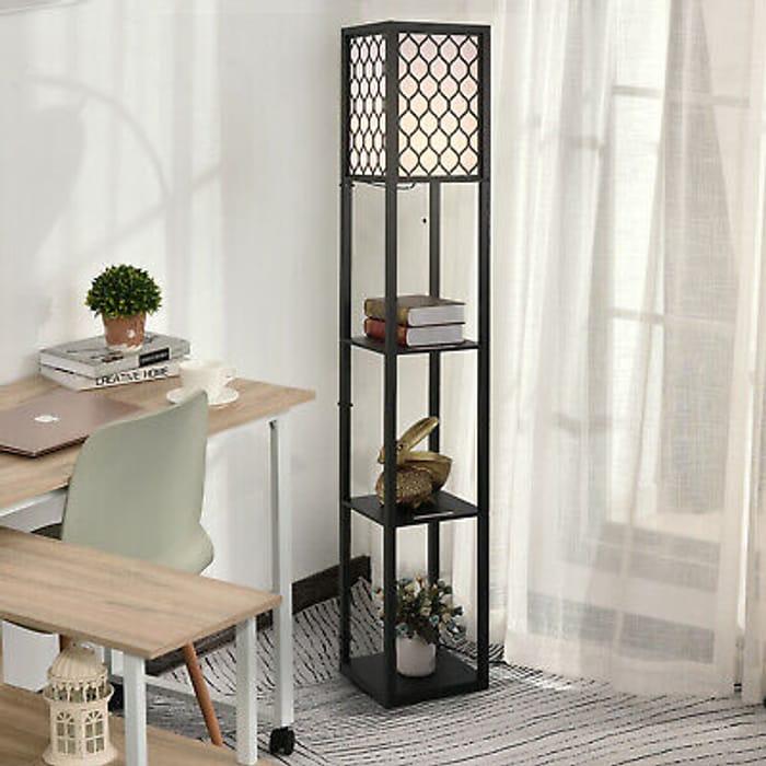 HOMCOM Modern Shelf Floor Lamp Light with 4-Tier Open Shelves - Only £39.09!