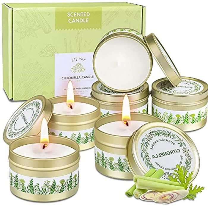 Outdoors Citronella Candles Natural Wax Gift Set for Garden, 6Pcs - Only £4.95!
