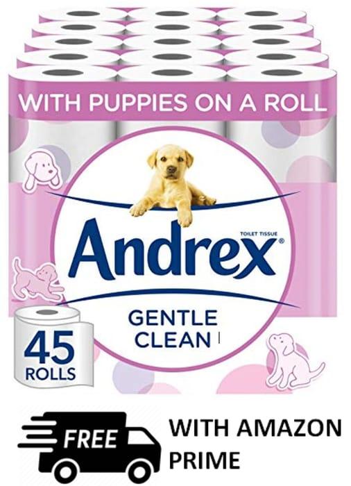 Andrex Gentle Clean Toilet Paper, 45 Rolls - 38p a roll