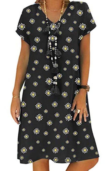 Women's Summer v Neck Short Sleeve Midi Casual Linen Dress - Only £3.80!