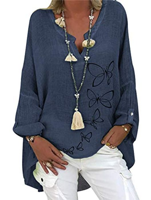 Women's Casual Cotton Long Sleeve V-Neck Linen Tunic Tops Shirts - Only £3.40!