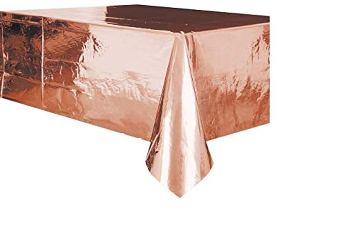 "Metallic Rectangular Plastic Table Cover - 54"" X 108"", 1 Pc - Only £1.98!"