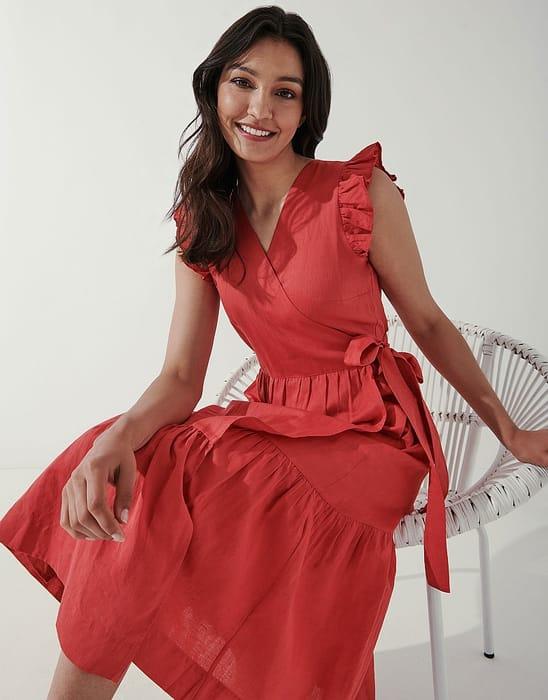 Sleeveless Frill Sleeve Wrap Dress