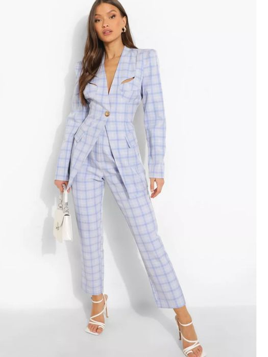Boohoo Checked Straight Leg Trousers in PINK or BLUE