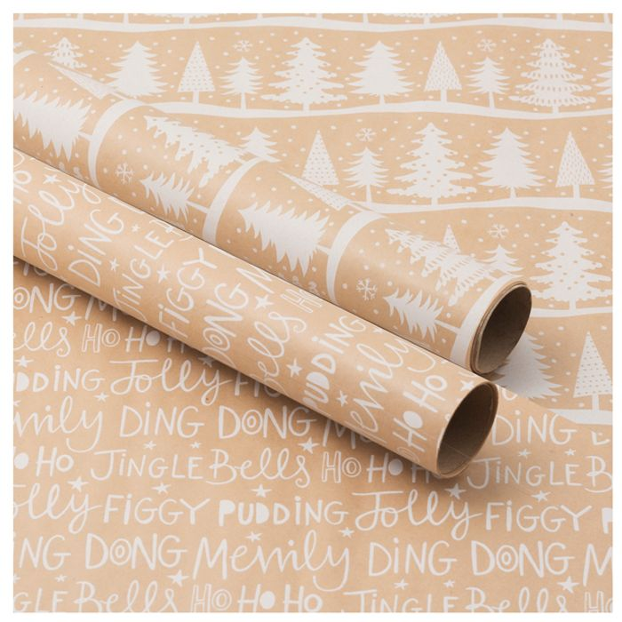 CHEAP! Luxury Recyclable Kraft Trees and Script Christmas Wrapping Paper 2m