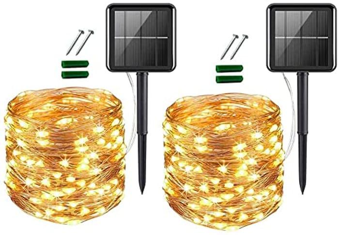 Solar String Lights Outdoor 120 LED, 2 Pack 39ft - Only £5.99!