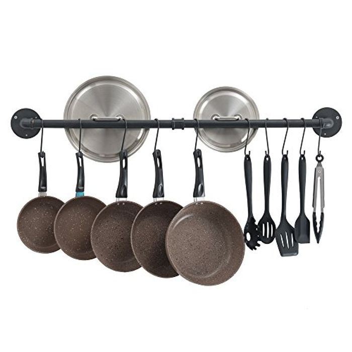 Wall Mount Pot Pan Bar Rack, 100cm Metal Industrial Style