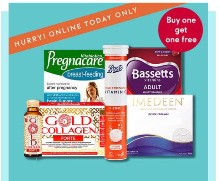 Buy 1 Get 1 Free Selected Vitamins Supplements -Discount Applied at Basket