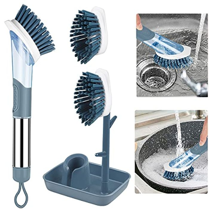 Washing up Brush with Handle + 2 Replacement Brushes + Stand