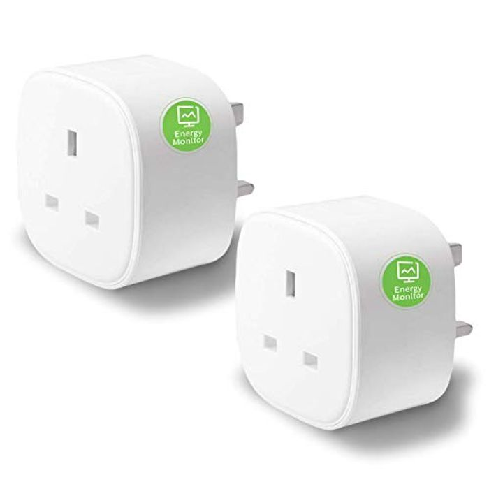 2 Pack of Meross Smart Plug with Energy Monitor Wi-Fi Outlet Alexa Echo, Google