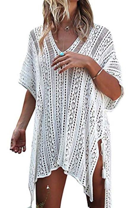 Women's Dress Crochet Beachwear v Neck Short Sleeve Swimsuit Coverup - 5 Colours