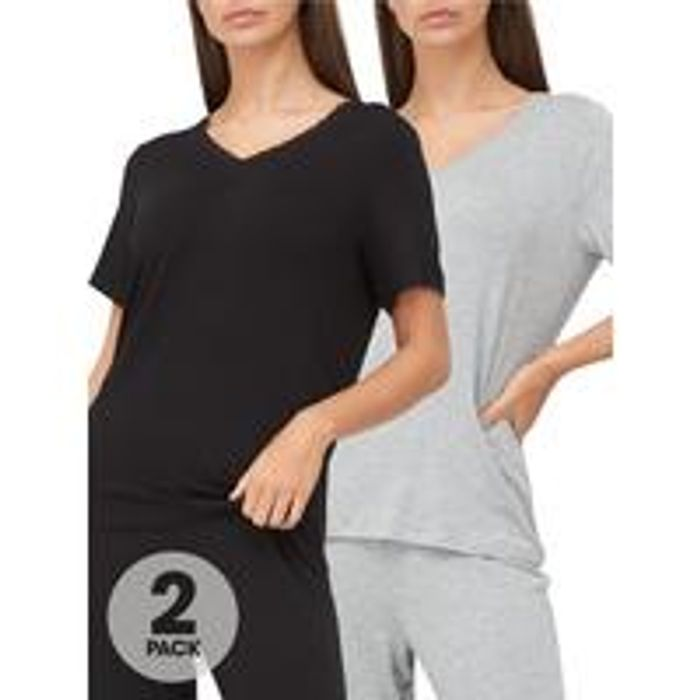 Value Mix & Match 2 Pack Lace Trim T-Shirts - Grey/Black