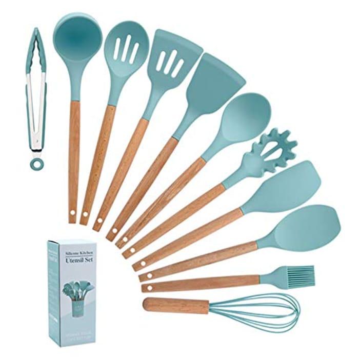 11 Pcs Heat Resistant Silicone Kitchen Utensils Set