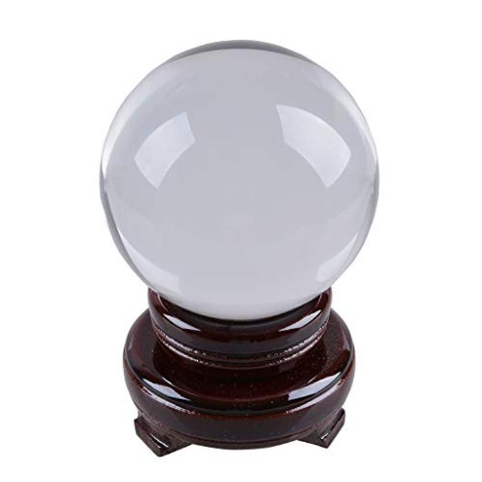 LONGWIN K9 Crystal Ball 100mm Photography Prop with Red Rotating Wood Stand