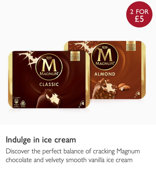Any 2 for £5 - Magnum Ice Cream