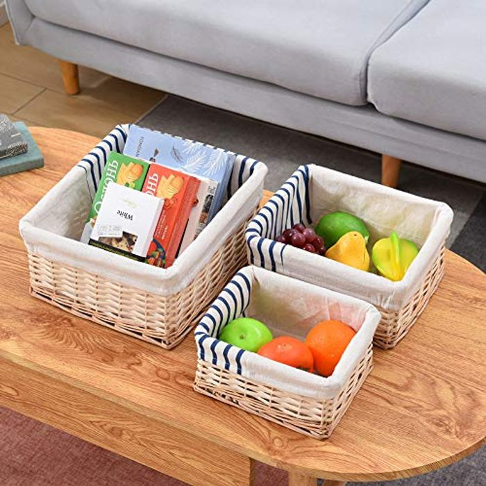 Cplxroc Set of 3 Woven Storage Basket Box with Removable Linen Liner