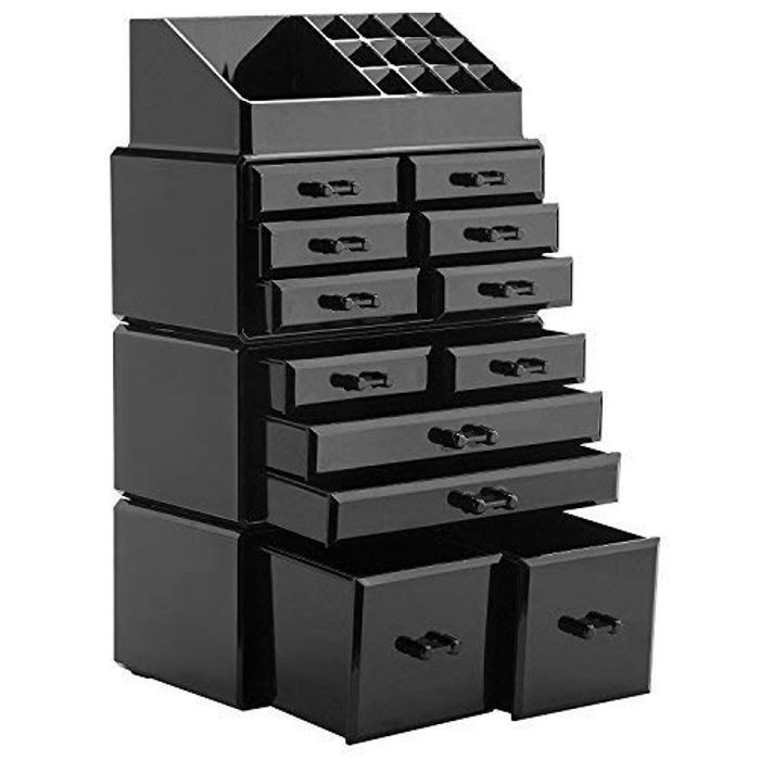 Makeup Organizer Holder Box (12 Drawers Black)