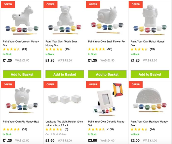 HobbyCraft Paint Your Own Ceramics Kits up to Half Price - Start from Just £1.25