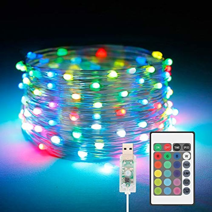 10m LED String Lights USB Powered, 16 Colour String Lights with Remote, 4 Modes