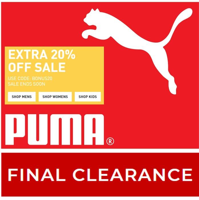 PUMA FINAL CLEARANCE - Up to 70% OFF SALE + EXTRA 20% OFF BONUS