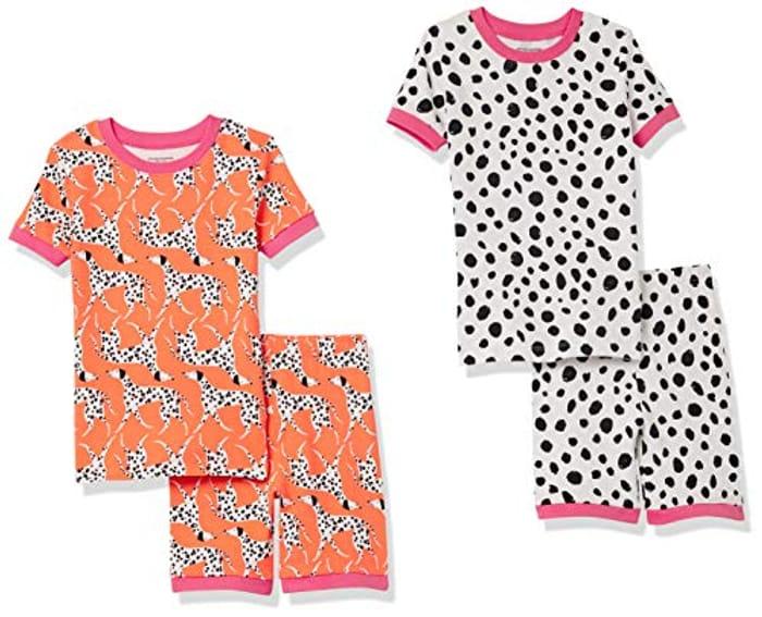 Amazon Essentials Girl's Snug-Fit Cotton Pajamas Sleepwear Sets, Pack of 4