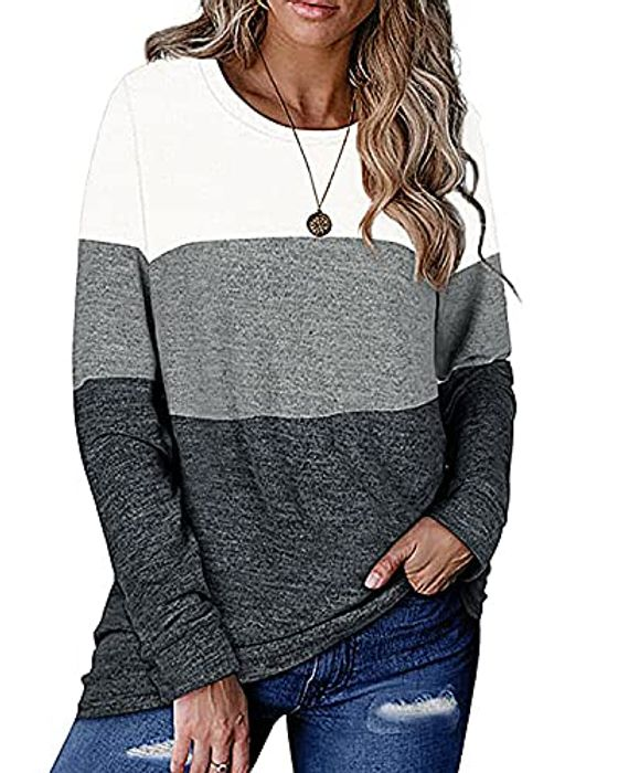N\C Women's Long Sleeve Top Casual Loose round Neck
