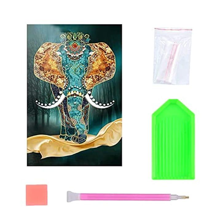5D DIY Diamond Art Kit, 5D Elephant Crystal Picture, Rhinestone -30x40cm