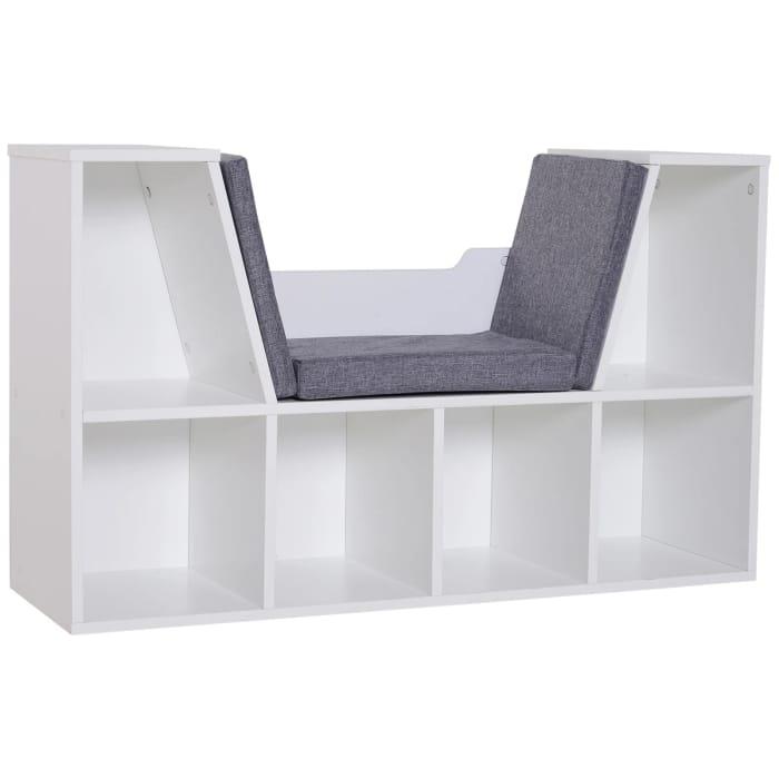 HOMCOM Bookcase Storage W/Particle Board Sponge Linen102W X 30D X 61Hcm-Wt/Grey