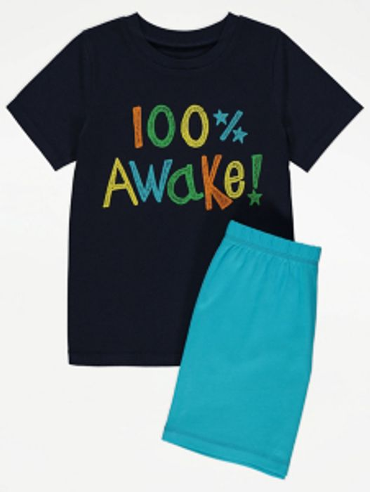 Blue Awake Slogan Short Pyjamas