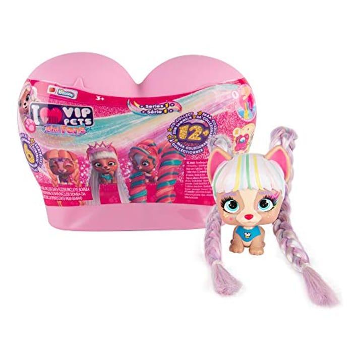VIP Pets Mini Surprise Collectable Mini Dog Doll Long Hair & Comb Etc