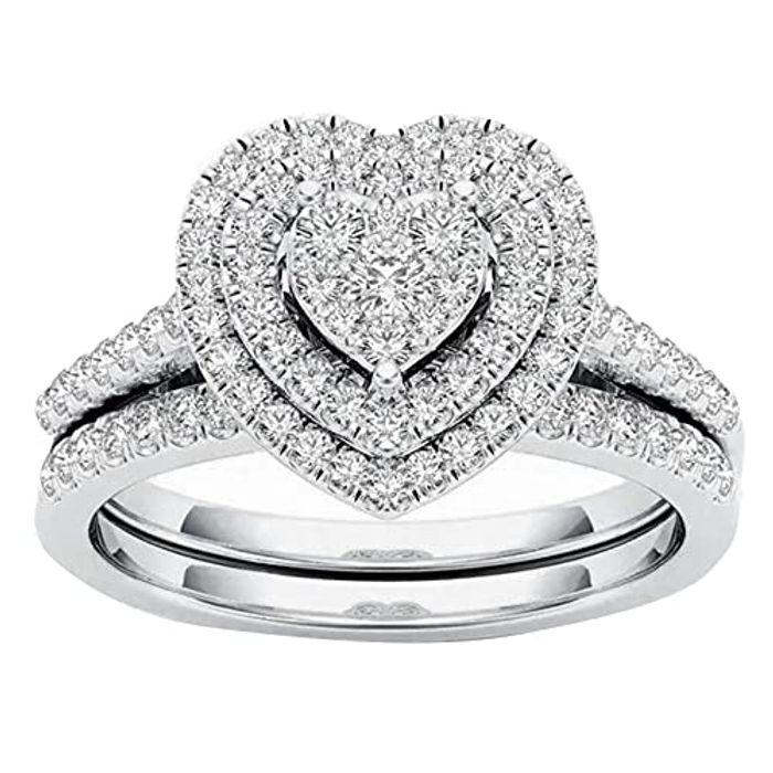 Cheap Women Heart Shaped Full Diamond Love Engagement Ring, 2 Pcs - Only £3.39!