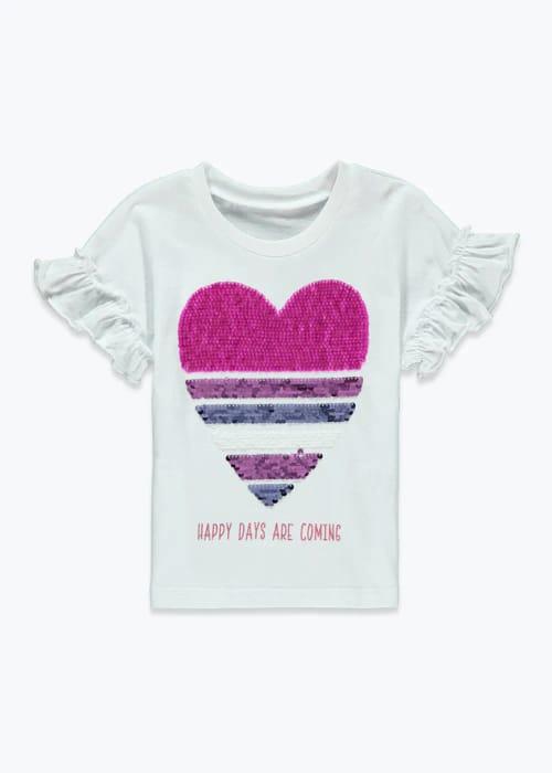 CHEAP! Girls Flippy Sequin Heart T-Shirt