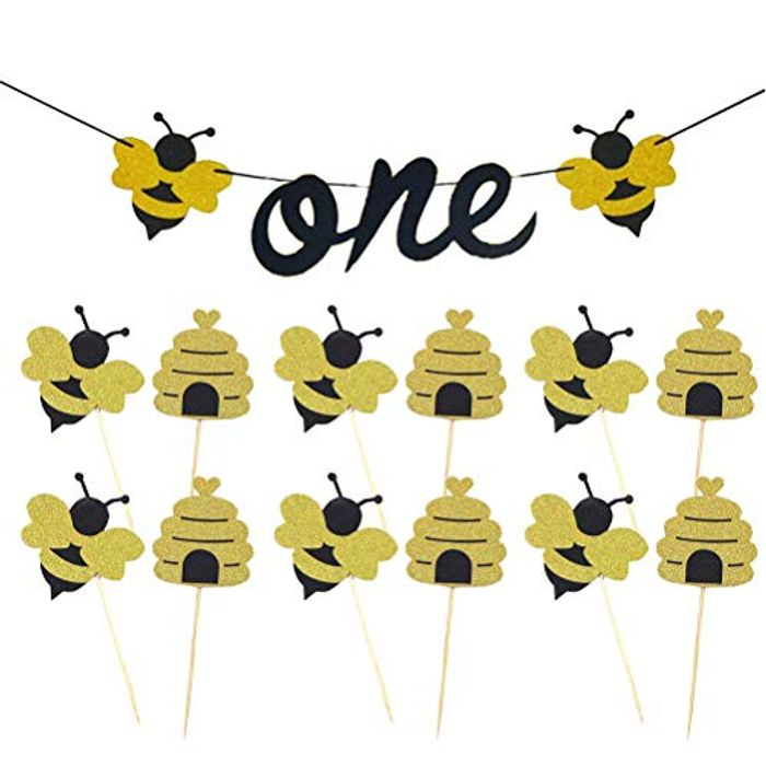 PRETYZOOM Bumble Bee Smash Cake Kit for Cake Decorations with £5 off Coupon
