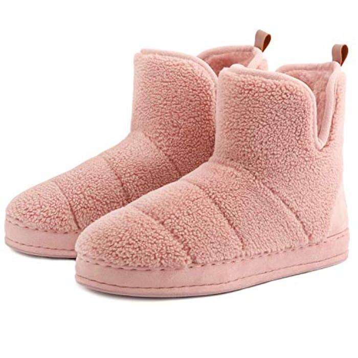 FamilyFairy Women's Warm Memory Foam Bootie Slippers
