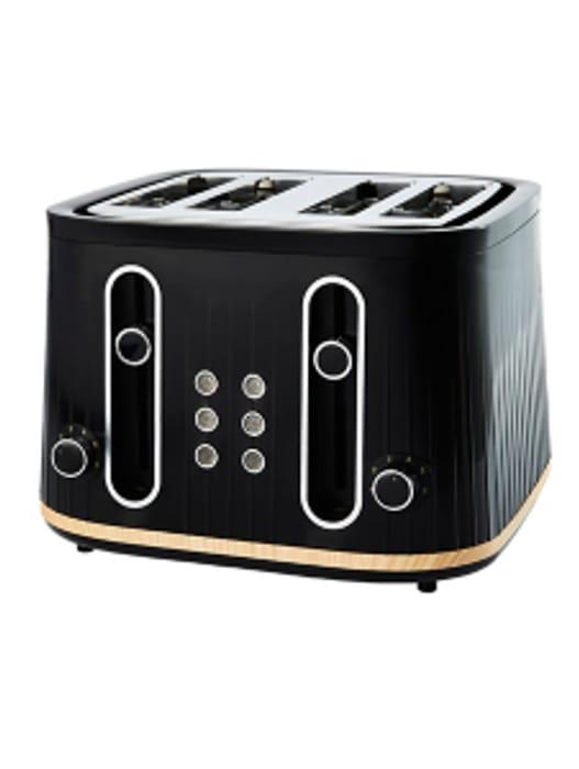 Black and Wood GTT201BW-20 Scandi 4 Slice Toaster