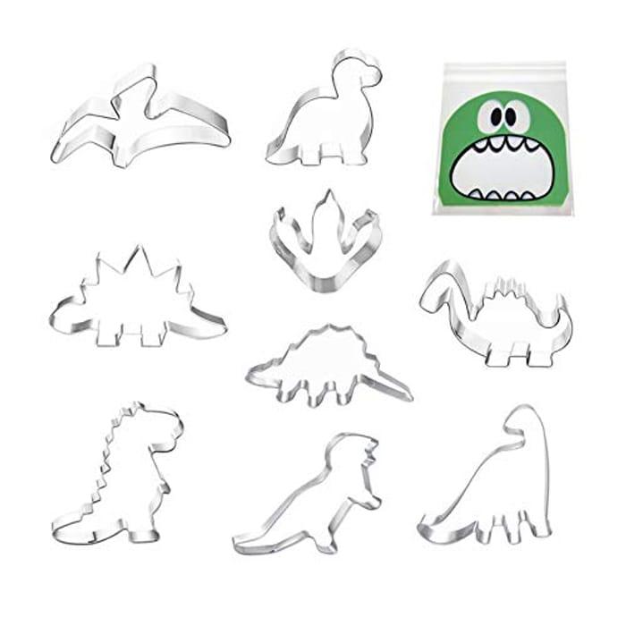 9pcs Dinosaur Cookie Cutter Set + 40 Candy Bags