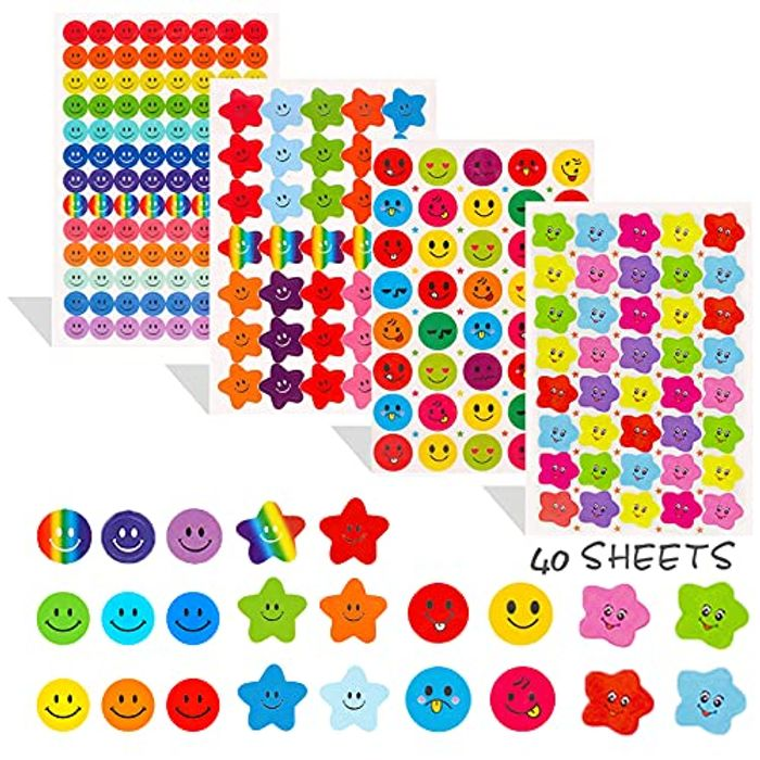 Acehome 40 Sheets 2190 Pcs Smiley Face Stickers