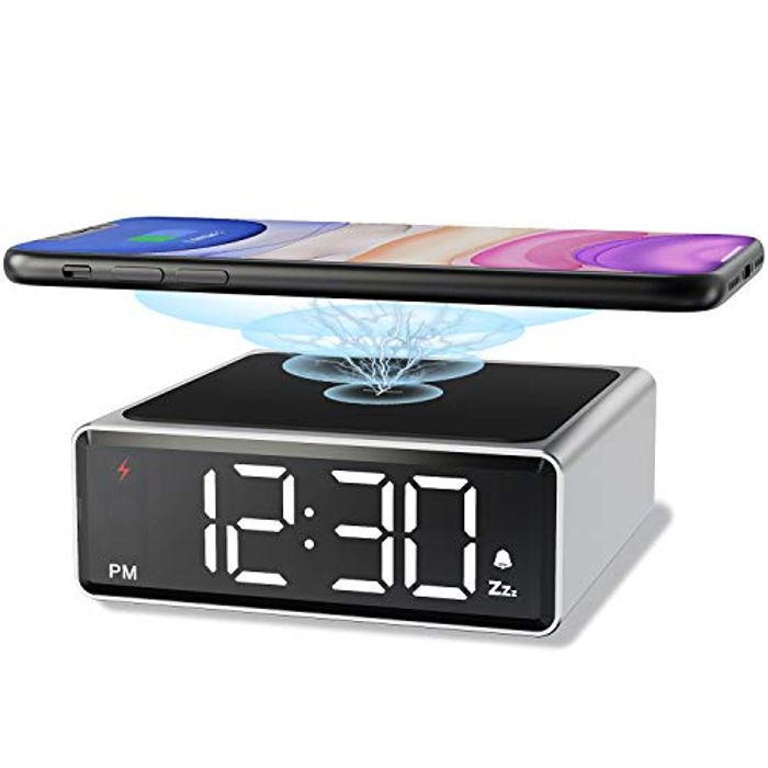 Metal Alarm Clock with Qi Wireless Charging - Only £9.99!