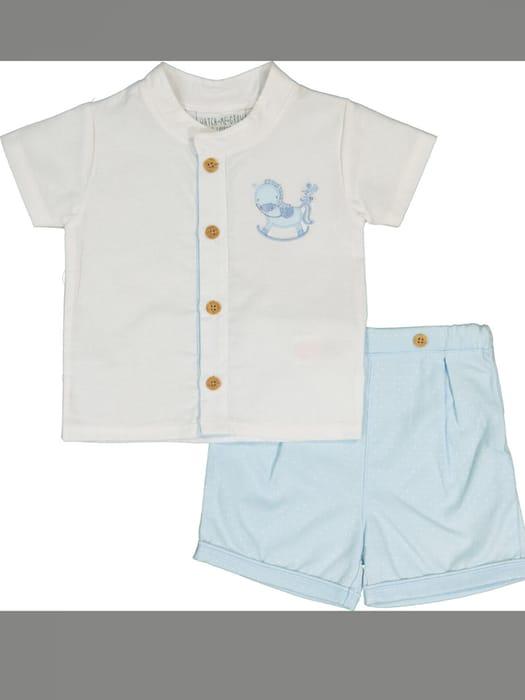 BARGAIN-WATCH ME GROW Blue Rocking Horse Shirt & Shorts Set