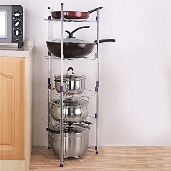 Pot Rack Pan Saucepan Stand 5 Tier Wire Shelving - Only £15.57!