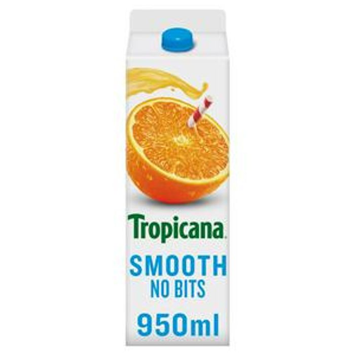 Tropicana 100% Pure Pressed Smooth Orange Juice, Not from Concentrate 950ml