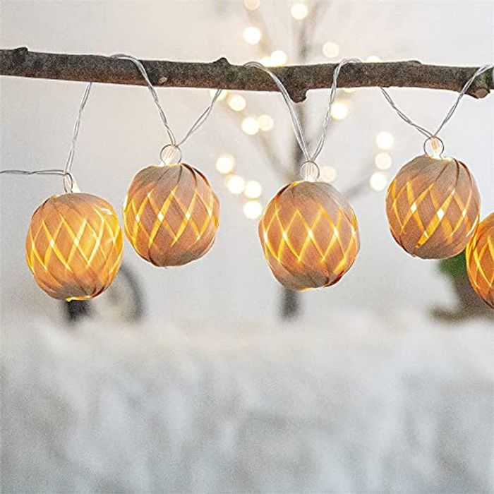 EAMBRITE Rattan Ball Warm White LED Fairy Lights - Battery Operated