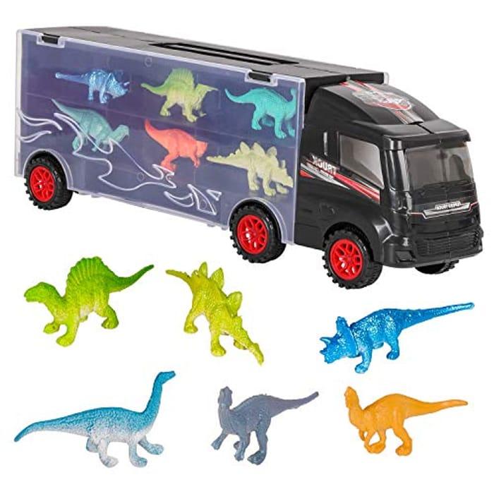 Zimoon Dinosaur Truck Transporter with 12 Mini Dinosaurs