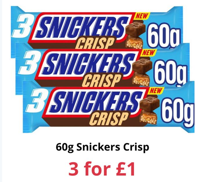 Snickers Crisp Trio 60g - 3 for £1 at Farmfoods