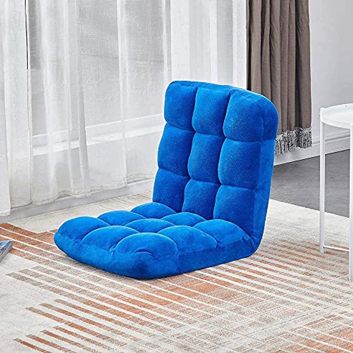 MeJa Foldable Blue Floor Chair Seat with Back Support - Only £17.99!